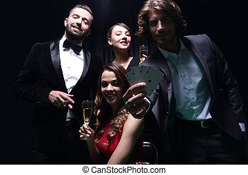 bovenleer, vrienden, stand, casino., geluksspelletjes