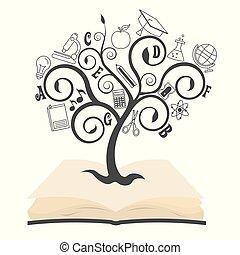 bovenzijde, boek, boompje, opleiding, iconen