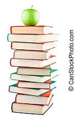 bovenzijde, boekjes , groene appel, stapel