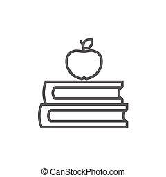 bovenzijde, boekjes , lijn, appel, icon.