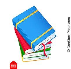 bovenzijde, boekjes , stapel, illustratie, aanzicht