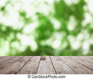 bovenzijde, bokeh, hout, groene, abstrac, tafel
