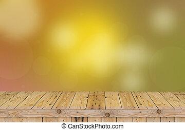 bovenzijde, bokeh, hout, groene achtergrond, tafel, abstract