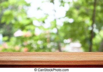 bovenzijde, bokeh, hout, groene achtergrond, tafel, bladeren