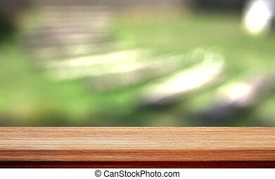 bovenzijde, bokeh, hout, groene achtergrond, tafel