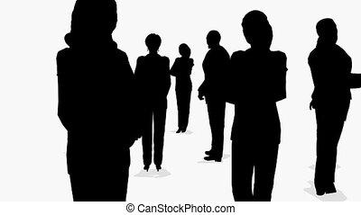 bovenzijde, drie, groepen, zakenlieden, zijaanzicht