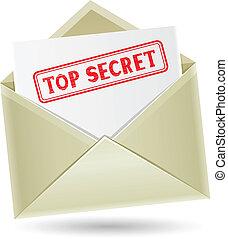 bovenzijde, enveloppe, geheim