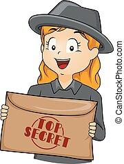 bovenzijde, enveloppe, illustratie, geheime agent, meisje, geitje