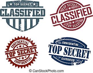 bovenzijde, geclassificeerd, geheim, postzegels