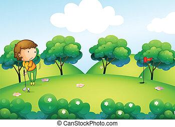 bovenzijde, golf, spelend, meisje, heuvel