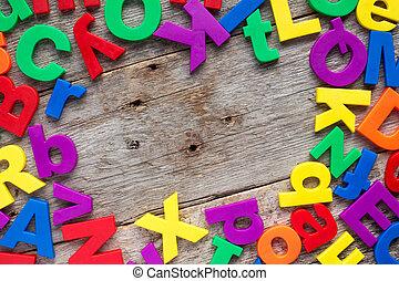 bovenzijde, grens, van, kleurrijke, speelbal, brieven