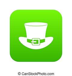 bovenzijde, groene, digitale , hoedje, gesp, pictogram