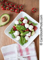 bovenzijde, groentes, slaatje, aanzicht
