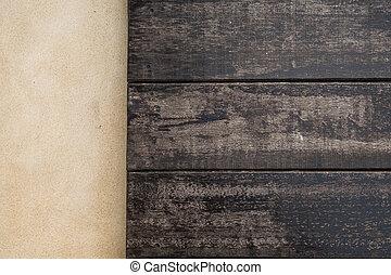 bovenzijde, houten, en, cement, floor., hout samenstelling, voor, achtergrond