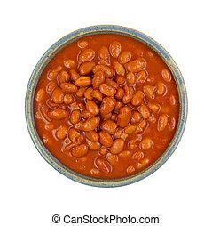 bovenzijde, kom, warme, bonen, chili, pinto, saus