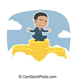 bovenzijde, muntjes, het peinzen, piek, afrikaan, zakenman