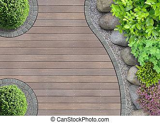 bovenzijde, ontwerp, tuin, aanzicht