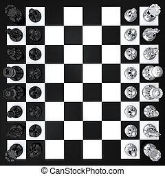 bovenzijde, schaakspel, aanzicht
