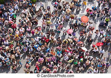 bovenzijde, stadsplein, aanzicht, wachten, mensen