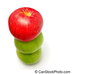bovenzijde, stapel, appel, rode appel