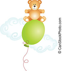 bovenzijde, teddy, balloon, beer, zittende