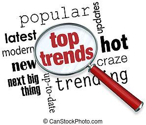 bovenzijde, trends, vergrootglas, populair, laatst, updates,...
