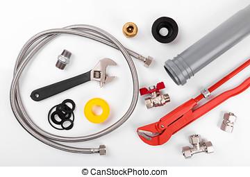 bovenzijde, uitrusting, white., loodgieterswerk, gereedschap, aanzicht