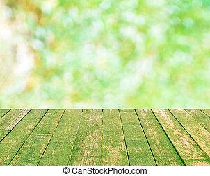 bovenzijde, vaag, bokeh, hout, groene achtergrond, tafel