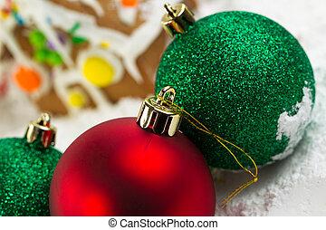 bovenzijde, van, kerstbal, gedurende, vakantietijd