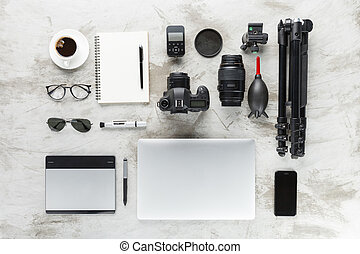 bovenzijde, werken, accessoires, tafel, fotografie, aanzicht