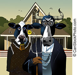A spoof of the painting %u201CAmerican Gothic%u201D by Grant Wood, using cows instead of people.