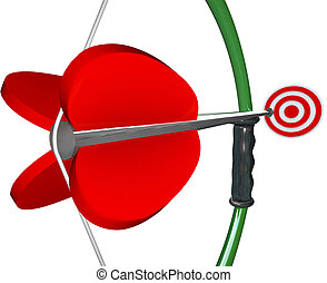 Bow and Arrow Aiming Target Bull's Eye Winning Game
