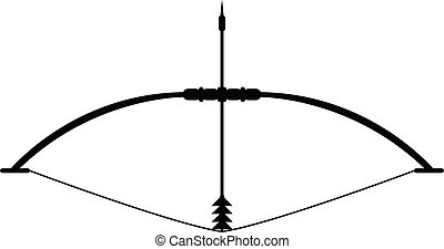 Bow and arrow and stretched Teteven. vector icon