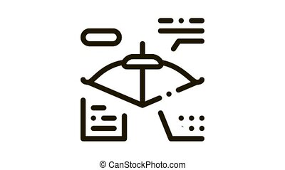 Bow And Arrow Characteristic Icon Animation. black Athlete Archery Equipment Characteristic Card Scheme animated icon on white background