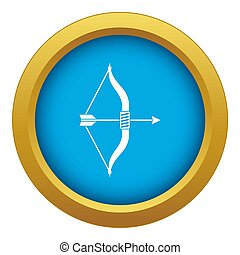 Bow and arrow icon blue isolated