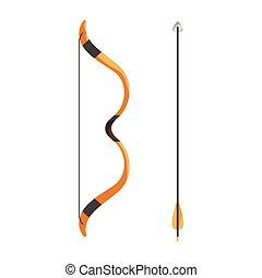 Bow and arrow icon, cartoon style