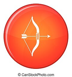 Bow and arrow icon, flat style