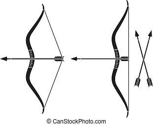 bow and arrow (vector bow weapon with arrow)