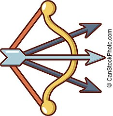 Bow and arrows icon, cartoon style