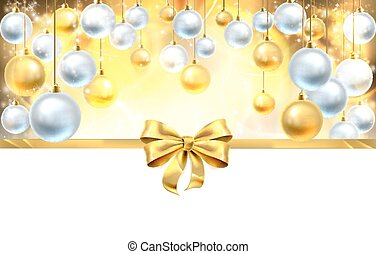 Bow and Baubles Christmas Background