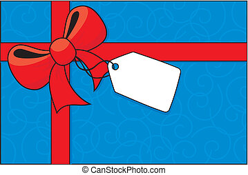 bow and gift label
