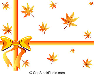 Bow and maple leaves on white