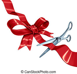 Bow and ribbon cutting with a red silk gift wrapping decoration with scissors opening the present packaging as a holiday symbol for Christmas a birthday or valentine's day isolated on a white background