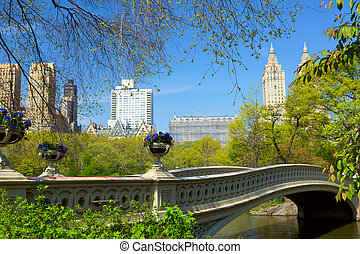Central Park - Bow Bridge over The Lake at Central Park in ...
