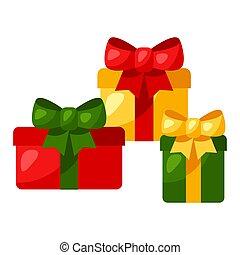bow., cadeau, illustratie, dozen