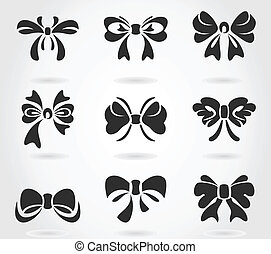 Bow - Set of bows for design. A vector illustration