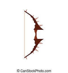 Bow game arrow vector illustration. Icon medieval weapon set rpg isolated cartoon. Fantasy design target element
