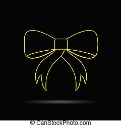 bow gold vector on black