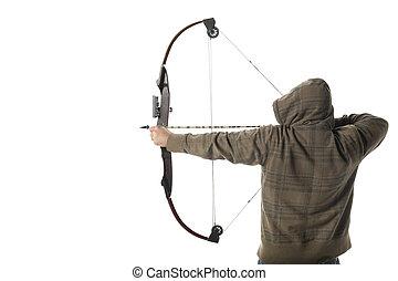 Hoodlum aims a compound bow and arrow