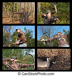 bow hunting collage with hunter in camouflage over black...